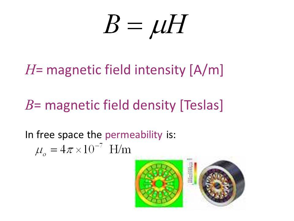 H= magnetic field intensity [A/m] B= magnetic field density [Teslas]